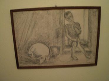 """Λιθογραφία με μολύβι του 1935, """"Αγόρι με σε Athens"""